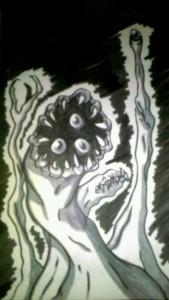 I love drawing amorphous, shapeshifting beasts. Even more so since I read Parasyte (Kiseijū) by Hitoshi Iwaaki.