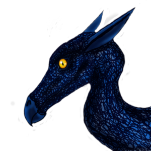 headshot of young blue dragon, digital art